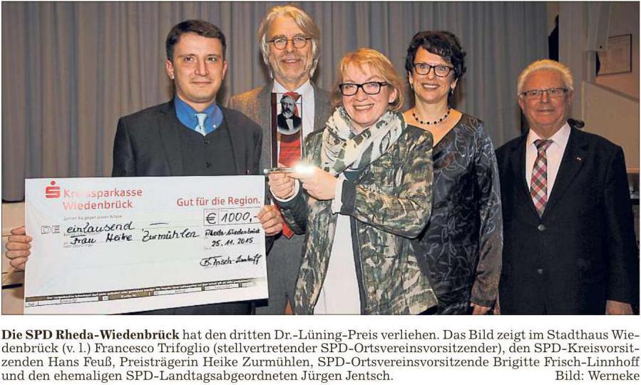 Heike Zurmuhlen Bekommt Dr Luning Preis Spd Rheda Wiedenbruck